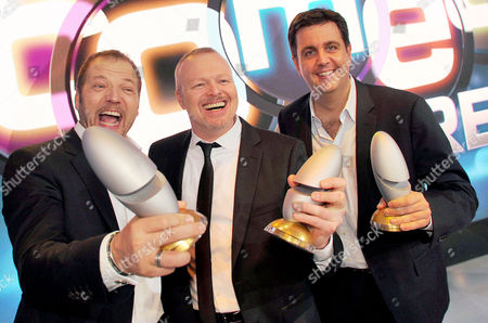 Stock Picture of (l-r) German Comedian Mario Barth Presenter Stefan Raab and Actor Bastian Pastewka Pose with Their Awards During the International Comedy Festival Held Together with German Tv Station Rtl in Cologne Germany 15 October 2013 Mario Barth was Honoured For the Most Successful Live Act Stefan Raab with Best Comedy Event and Bastian Pastewka Received Two Awards One As Best Actor and the Second For the Best Tv Comedy Serial Germany Cologne