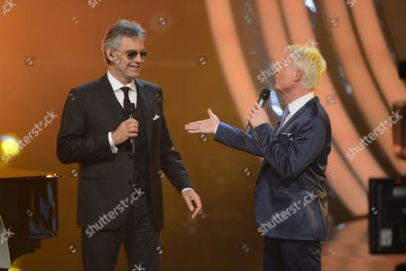 A Photo Made Available 10 March 2013 of Anchorman Guido Cantz (r) and Italian Tenor Andrea Bocelli (l) During the 'Verstehen Sie Spass??' (candid Camera) Television Show in Friedrichshafen Southern Germany 09 March 2013 Germany Friedrichshafen