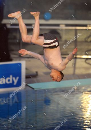 Stock Picture of German Television Presenter Stefan Raab Takes a Dive During the 'Tv Total Turmspringen' (tv Total Diving) Competition at the Olympia-schwimmhalle in Munich Germany 24 November 2012 Germany Munich