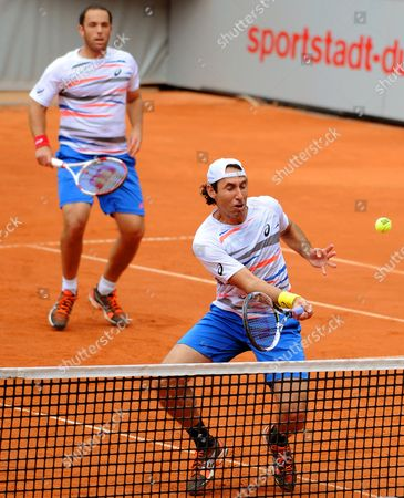 Mexico's Santiago Gonzalez (r) and Scott Lipsky (l) of the Usa in Action Against Germany's Martin Emmrich and Christopher Kas During Their Doubles Final of the Atp Tennisátournament in Duesseldorf Germany 24 May 2014 Germany Duesseldorf