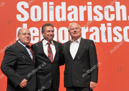 Gregor Gysi (l-r) Fraction Chairman of the German Party the Left ('die Linke') in the German Bundestag Party Chairman Klaus Ernst and Fraction Chairman of the German Party the Left ('die Linke') in the German Federal State Saarland Oskar Lafontaine Attend the Party Conference in Goettingen Germany 02 June 2012 the Assembly Will Be Held From 02 Until 03 June 2012 at Lokhalle in Goettingen and a New Head of the Party Will Be Elected Photo: Bernd Von Jutrczenka Germany Goettingen