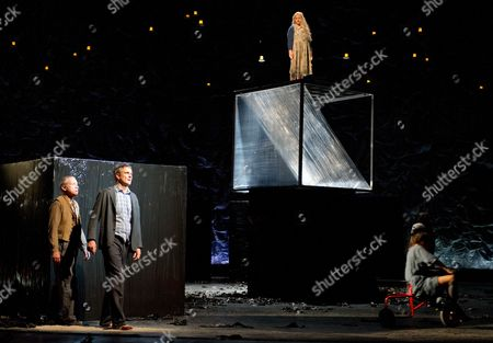 Stock Photo of The Image Made Available on 11 December 2013 Shows Actors Markwart Mueller-elmau (math Teacher) Matthias Neukirch (man Katrináklein (woman) and Janina Sachau (hebamme) Performing During the Photo Rehearsal For the Play 'Falling out of Time' by Israeli Writer David Grossmann at the Deutsches Theater in Berlin ágermany on 10 December the Premiere of the Play Directed by Andreas Kriegenburg is on 13 December Germany Berlin