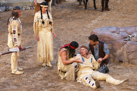Stock Picture of A Picture Made Available on 23 June 2013 Shows Actors (l-r) Gojko Mitic As Chief Intschu-tschuna Sophie Wepper As Winnetous' Sister Nscho-tschi and Jan Sosniok During the Premiere Performance of 'Winnetou i - Blood Brothers' During the 62nd Edition of the Karl May Festival on the Kalkberg Open-air Stage in Bad Segeberg Germany 22 June 2013 Around 80 Are Taking Part in the Play (onstage and Backstage) with a Production That Cost of 4 1 Million Euros and is Staged at the Open-air Theatre Until 01 September 2013 Germany Bad Segeberg