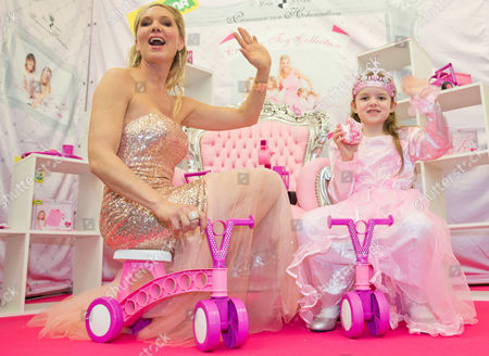 Maja Synke Princess of Hohenzollern Presents Her New Toy Collection with Little Anna-katharina During the News Show at the 65th International Toy Fair in Nuremberg Germany 28 January 2014 Germany Nuremberg