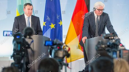 Stock Picture of German Foreign Minister Frank-walter Steinmeier (r) and Ukranian Foreign Minister Andrii Deshchytsia (l) Hold a Joint News Conference at the Foreignáoffice Ináberlin ágermany 20 May 2014 Germany Berlin