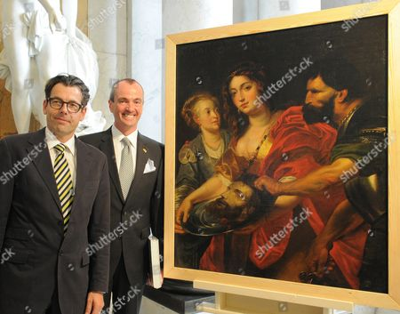 Us Ambassador Philip D Murphy (r) Hands Over the Contemporary Copy of the Rubens Painting 'Salome with the Head of John the Baptist' to Foundation Director Hartmut Dorgerloh (l) at Sanssouci in Potsdam Germany 11 July 2012 the Work is One of 4000 Paintings That Were Listed and Published As Lost in the War From Prussian Palaces Since 1945 It Resurfaced a Year and a Half Ago in an American Art Dealership with the Cooperation of Officials in the Usa the Painting was Returned to the Picture Gallery in Potsdam Germany Potsdam