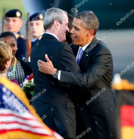 Us President Barack Obama Hugs Us Ambassador to Germany Philip D Murphy (l) Upon Obama's Arrival at Tegel Airport in Berlin Germany 18 June 2013 President Obama Arrived in Berlin on 18 June For His First Visit to the German Capital As President Hours After Departing From the G8 Summit in Northern Ireland Germany Berlin