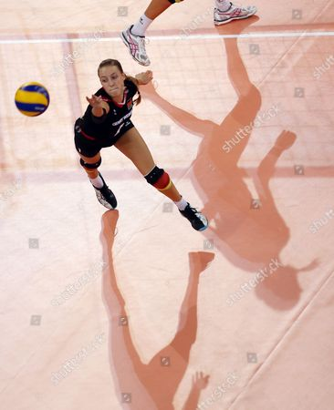 Lenka Duerr of Germany in Action During the Women's Cev Volleyball European Championship Group a Match Between Germany and Netherlands at Gerry Weber Stadium in Halle/westphalia Germany 07 September 2013 Germany Halle