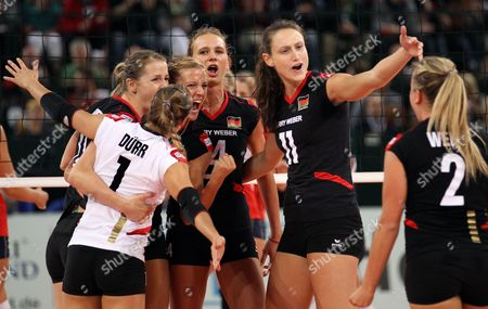 Stock Picture of (l-r) Heike Beier Lenka Duerr Maren Brinker Margareta Anna Kozuch Christiane Fuerst and Kathleen Weiss of Germany Celebrate During Their Women's Cev Volleyball European Championship Quarterfinal Match Between Germany and Croatia at the Gerry Weber Indoor Arena in Halle/westphalia Germany 11 September 2013 Germany Halle