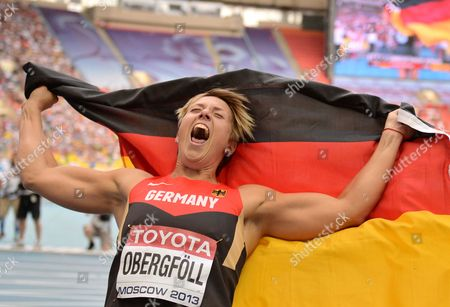 Christina Obergfoell of Germany Celebrates After Winning the Women's Javelin Throw Final at the 14th Iaaf World Championships in Athletics at Luzhniki Stadium in Moscow Russia 18 August 2013 Russian Federation Moscow