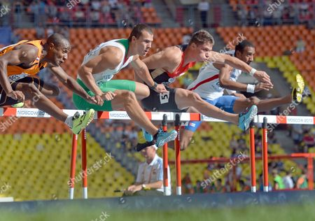 Gregory Sedoc (l-r) of the Nederlands Balazs Baji of Hungary Erik Balnuweit of Germany and Orlando Ortega of Cuba Compete in the Men's 110 Metres Hurdles Heats During the Women's 1 500m Heats at the 14th Iaaf World Championships at Luzhniki Stadium in Moscow Russia 11 August 2013 Russian Federation Moscow