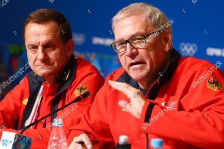 Alfons Hoermann (l) President of the German Olympic Sports Confederation (dosb) and Michael Vesper (r) Chef De Mission of Team Germany Attend a Press Conference at the Main Media Center (mmc) at the Sochi 2014 Olympic Games Sochi Russia 22 February 2014 Russian Federation Sochi