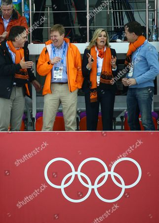 Camiel Eurlings Ioc Member of Netherlands Next to Dutch King Willem Alexander Queen Maxima and Dutch Prime Minister Mark Rutte (left to Right) Reacts to the Dutch Speed Skaters During the Men's 5000m Speed Skating Event in the Adler Arena at the Sochi 2014 Olympic Games Sochi Russia 08 February 2014 Russian Federation Sochi