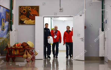 (r-l) Alfons Hoermann President of the German Olympic Sports Confederation (dosb) and Michael Vesper Chef De Mission of the Team Germany and German Olympic Committee Spokesman Christian Klaue Arrive For a Press Conference at the Main Media Center (mmc) at the Sochi 2014 Olympic Games Sochi Russia 22 February 2014 Russian Federation Sochi