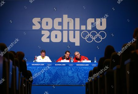 (l-r) Germany's National Olympic Committee (noc) Sports Director Bernhard Schwank Alfons Hoermann President of the German Olympic Sports Confederation (dosb) and Michael Vesper Chef De Mission of the Team Germany Attend a Press Conference at the Main Media Center (mmc) at the Sochi 2014 Olympic Games Sochi Russia 22 February 2014 Russian Federation Sochi