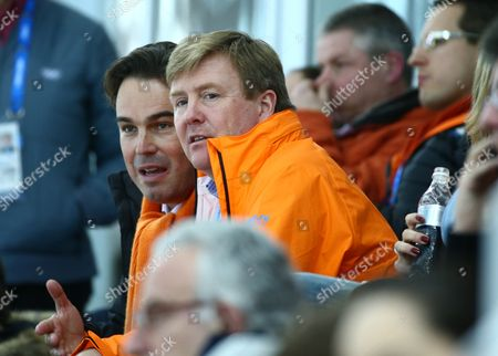 Camiel Eurlings (l) Ioc Member of Netherlands Next to Dutch King Willem Alexander Watching the Dutch Speed Skaters During the Men's 5000m Speed Skating Event in the Adler Arena at the Sochi 2014 Olympic Games Sochi Russia 08 February 2014 Russian Federation Sochi