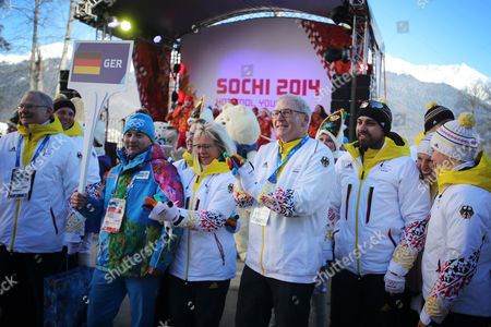 Director-general of the German Olympic Sports Confederation (dosb) and Chef De Mission Michael Vesper (c) and Other German Officials and Athletes Attend the Team Welcome Ceremony in the Mountain Olympic Village in Krasnaya Polyana Russia 05 February 2014 the Sochi 2014 Olympic Games Run From 07 to 23 February 2014 Russian Federation Krasnaya Polyana