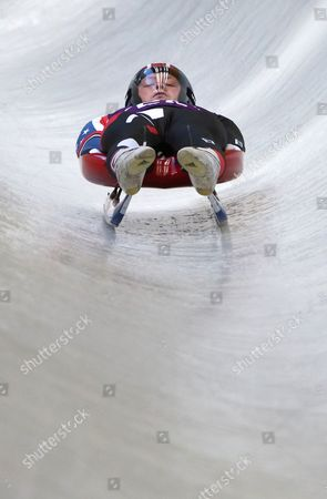 Aidan Kelly of Usa in Action During the Men's Luge Training Session at Sliding Center Sanki at the Sochi 2014 Olympic Games Krasnaya Polyana Russia 07 February 2014 Russian Federation Krasnaya Polyana
