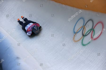 Stock Photo of Kristan Bromley of Great Britain in Action During the Men's Heat 1 of the Skeleton Competition at the Sanki Sliding Center at the Sochi 2014 Olympic Games Krasnaya Polyana Russia 14 February 2014 Russian Federation Krasnaya Polyana