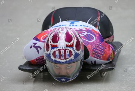 Noelle Pikus-pace of Usa Competes in Heat 4 in the Women's Skeleton Competition at the Sanki Sliding Center at the Sochi 2014 Olympic Games Krasnaya Polyana Russia 14 February 2014 Russian Federation Krasnaya Polyana