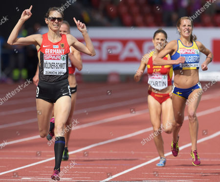Antje Moeldner-schmidt of Germany Reacts Winning the Women's 3000m Steeplechase Final at the European Athletics Championships 2014 in the Letzigrund Stadium in Zurich Switzerland 17 August 2014 Switzerland Schweiz Suisse Zurich