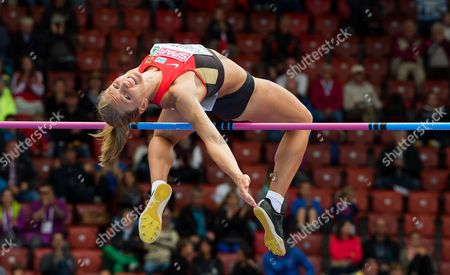 Stock Photo of Lilli Schwarzkopf From Germany Competes in the Women's High Jump Event of the Heptathlon Competition During the European Athletics Championships 2014 in the Letzigrund Stadium in Zurich Switzerland 14 August 2014 Switzerland Schweiz Suisse Zurich