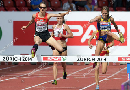 Antje Moeldner-schmidt (l) of Germany and Charlotta Fougberg (r) of Sweden Compete the Women's 3000m Steeplechase Final at the European Athletics Championships 2014 in the Letzigrund Stadium in Zurich Switzerland 17 August 2014 Switzerland Schweiz Suisse Zurich