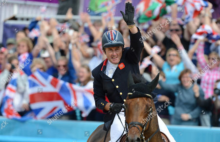 Britain's Peter Charles Cheers After Winning Gold with the Team During the London 2012 Olympic Games Equestrian Jumping Competition in Greenwich Park South East London Britain 06 August 2012 United Kingdom London