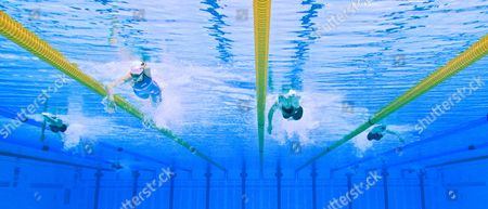 Daniela Schulte (2nd L) of Germany and Amber Thomas (2nd R) of Canada Compete in the Women's 400m Freestyle S11 Final of the Swimming Competitions at the Aquatics Center During the London 2012 Paralympic Games in London Britain 07 September 2012 Schulte Won the Gold Medal United Kingdom London