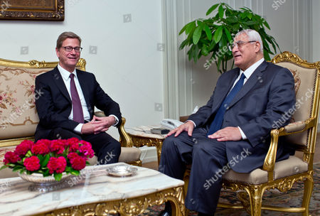 German Foreign Minister Guido Westerwelle (l) Speaks with Egypt's Interim President Adli Mansour (r) During Thier Meeting in Cairo Egypt 01 August 2013 Westerwelle is the First Western Foreign Minister to Visit Egypt Since Mohammed Morsi was Ousted As the Nation's President by the Army at the Beginning of July Egypt Cairo
