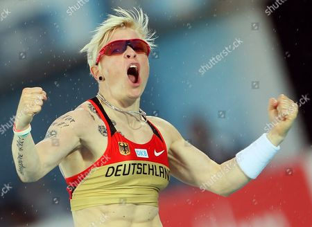 Germany's Martina Strutz Celebrates After Winning the Silver Medal in the Women's Pole Vault Final at the Athletics European Championships in Helsinki Finland 30 June 2012 Finland Helsinki