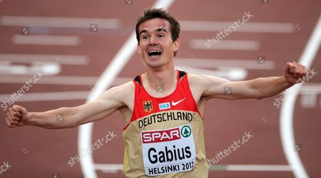 Arne Gabius of Germany Celebrates After Winning the Silver Medal in the Men's 5 000m Race During the European Athletics Championships 2012 at the Olympic Stadium in Helsinki Finland 27 June 2012 Finland Helsinki