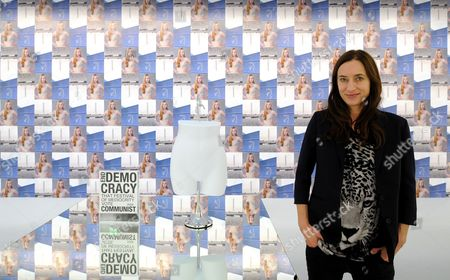 German Artist Josephine Meckseper Stands in Front of Her Work 'Untitled (end Democracy)' (2005) at the Kunsthalle Art Space in Worpswede Germany 01 November 2012 the Mixed Media Installation is Part of the Exhibition 'Contemporary Worpswede' Featured Between 03 November 2012 and 27 January 2013 Germany Worpswede