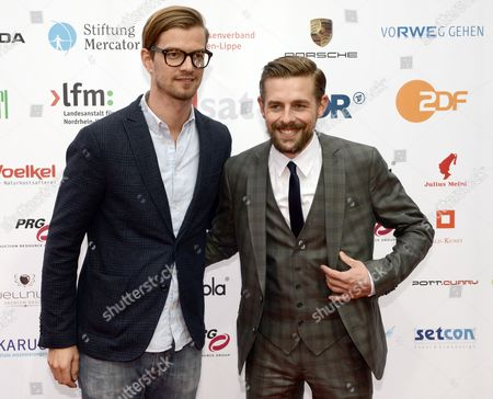 Tv Hosts Joko Winterscheidt (l) and Klaas Heufer-umlauf Arrive For the Award Ceremony of the Grimme Awards (grimme-preis) 2014 in Marl Germany 04 April 2014 Germany Cologne