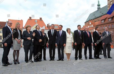 Participants of the Council of the Baltic Sea States Summit (l-r) Prime Minister of Mecklenburg-vorpommern Erwin Sellering Danish Environment Minister Ida Auken German Chancellor Angela Merkel European Commission President Jose Manuel Barroso Prime Minister of Iceland Johanna Sigurdardottir Prime Minister of Norway Jens Stoltenberg Prime Minister of Finland Jyrki Katainen the Chairman of the Parliamentary Conference of the Baltic States Valentina Pivnenko Prime Minister of Latvia Valdis Dombrovskis Prime Minister of Lithuania Andrius Kubilius Tprime Minister of Estonia Andrus Ansip and the Russian Deputy Prime Minister Igor Shuvalov Pose For a Picture in Stralsund Germany 30 May 2012 Heads of State From the Council of the Baltic Sea States Including Norway and Iceland Are Meeting For a Two-day Summit on the Invitation of German Chancellor Merkel Topics to Be Discussed Are Said to Include International Economic and Security Policies As Well As Questions of Energy Security in the Baltic Sea Area Germany Stralsund