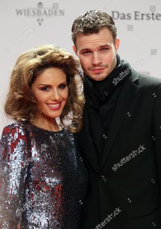 Tv Host Nazan Eckes Arrives with Her Boyfriend Austrian Painter Julian Khol For the Bambi Awards in Wiesbaden Germany 10 November 2011 the Bambis Are the Main German Media Awards and Are Presented For the 63rd Time Germany Wiesbaden