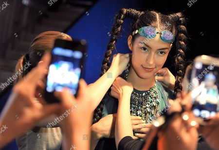 German Model Rebecca Mir is Being Prepared For the Show of German Fashion House Miranda Konstantinidou at the Mercedes-benz Fashion Week in Berlin Germany 05 July 2013 the Presentations of the Spring/summer 2014 Collections Take Place From 02 to 07 July Germany Berlin