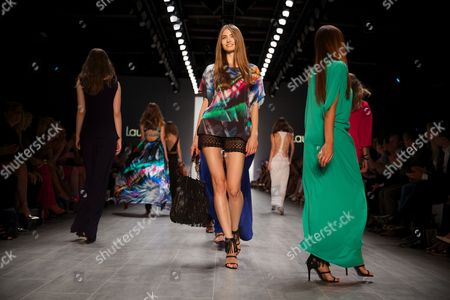 Models Present Creations by German Designer Elisabeth Schwaiger For the Label Laurel at the Mercedes-benz Fashion Week in Berlin Germany 10ájuly 2014 the Presentation of the Spring/summer 2015 Collections Runs From 08 to 11 July Germany Berlin