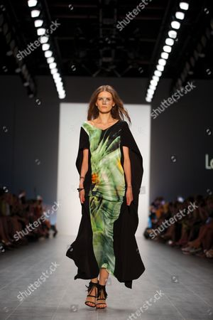 A Model Presents a Creation by German Designer Elisabeth Schwaiger For the Label Laurel at the Mercedes-benz Fashion Week in Berlin Germany 10ájuly 2014 the Presentation of the Spring/summer 2015 Collections Runs From 08 to 11 July Germany Berlin