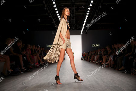 A Model Presents a Creation by German Designer Elisabeth Schwaiger For the Fashion House Laurel During the Mercedes Benz Fashion Week in Berlin Germany 10ájuly 2014 áthe Fashion Show Features the Spring/summer Collections 2015 and Will Run From 08 to 11 July Germany Berlin