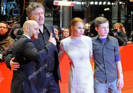 Stock Picture of German Director Matthias Glasner (2-l) Austrian Actress Birgit Minichmayr (2-r) German Actor Juergen Vogel (l) and Actor Henry Stange Arrive For the Premiere of the Movie 'Mercy' ('gnade') During the 62nd Berlin International Film Festival in Berlin Germany 16 February 2012 the Movie is Presented in Competition at the 62nd Berlinale Running From 09 to 19 February Germany Berlin