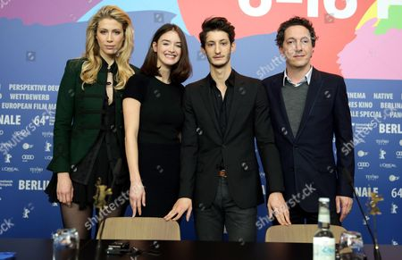 (l-r) French Actors Marie De Villepin Charlotte Le Bon Pierre Niney and Guillaume Gallienne Attend a Press Conference For 'Yves Saint Laurent' at the 64th Annual Berlin Film Festival in Berlin Germany 07 February 2014 the Movie is Presented in the Panorama Section of the Berlinale Which Runs From 06 to 16 February 2014 Germany Berlin