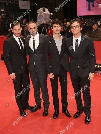 Stock Image of (l-r) German Actor Clemens Schick Director Karim Ainouz Actors Jesuita Barbosa and Wagner Moura Arrive For the Closing and Awards Ceremony of the 64th Annual Berlin Filmáfestival in Berlin ágermany 15 February 2014 the Berlinale Festival Runs Until 16 February Germany Berlin