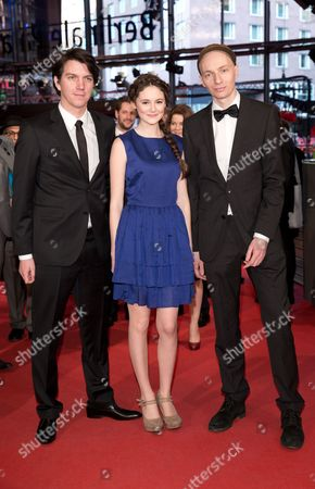 (l-r) German Producer Jochen Laube Actress Lea Van Acken and Director Dietrich Brueggemann Pose As They Arrive For the Screening of 'Kreuzweg' (stations of the Cross) at the 64th Annual Berlin Film Festival in Berlin Germany 09 February 2014 the Movie is Presented in the Official Competition at the Berlinale Which Runs From 06 to 16 February 2014 Germany Berlin