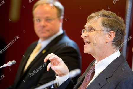 Bill Gates (r) Founder of Microsoft and Head of the Bill and Melinda Foundation Talks Next to German Development Minister Dirk Niebel at a Press Conference in Berlin Germany 29 January 2013 the Federal Ministry and the Foundation Are to Cooperate in the Fight Against Hunger and Malnourishment Germany Berlin
