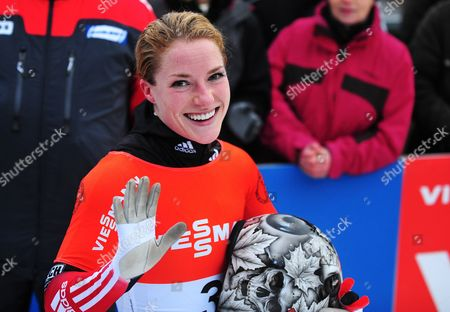 Canada's Sarah Reid Cheers During the Skeleton World Cup in Winterberg ágermany 04 January 2014 She Came in Third Place Germany Winterberg