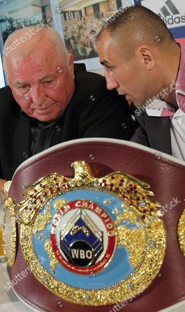 Reigning Wbo Super-middleweight World Champion Arthur Abraham (r) Talks with His Coach Ulli Wegner During a Press Conference in Magdeburg Germnany 12 February 2013 Abraham Will Fight His Challenger Robert Stieglitz For the Wbo World Championship Title on 23 March 2013 Germany Magdeburg