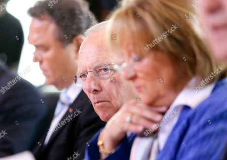 (l-r) German Minister of Transport Peter Ramsauer German Minister of the Interior Hans-peter Friedrich (csu) German Minister of Finance Wolfgang Schaeuble (cdu) and German Minister of Justice Sabine Leutheusser-schnarrenberger (fdp) Attend the Meeting of the German Cabinet at the Federal Chancellery in Berlin Germany 03 July 2013 Germany Berlin