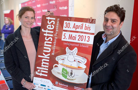 German Actress Cosima Shaw and British Director Marcus Markou Hold the Festival Poster Before the Opening Press Conference of the Film Festival Filmkunstfest Mv in Schwerin Germany 29 April 2013 the 23rd Filkunstfest Will Take Place Between 30 April and 05 May 2013 and Will Showcase 120 Movies Shorts and Documentaries Germany Schwerin