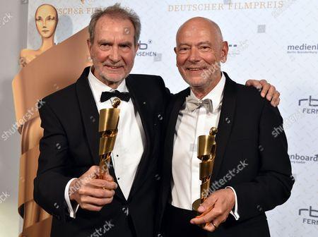 German Writer Gert Heidenreich (r) and Filmmaker Edgar Reitz Pose with Their Best Script Award For 'Die Andere Heimat' During the 64th German Film Award 'Lola' Ceremony in Berlin Germany 09 May 2014 Germany Berlin